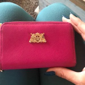 Juicy couture hot pink leather wallet